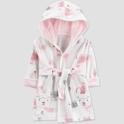 Baby Girls' Llama Bath Robe - Just One You® made by carter's Pink/White