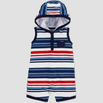 Baby Boys' One Piece Joy 4th of July Hooded Striped Romper - Just One You® made by carter's Blue/White/Red 3M