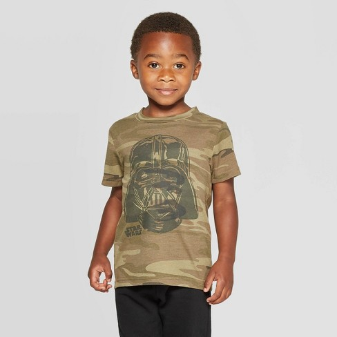 Toddler Boys' Star Wars Darth Vader Short Sleeve T-Shirt - Camouflage Green - image 1 of 3