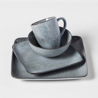 Solene Square Stoneware 16pc Dinnerware Set Dark Gray - Project 62™