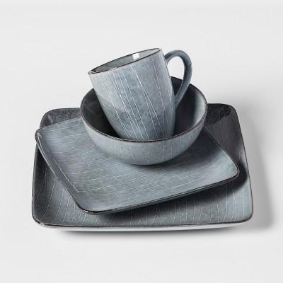 Solene Square Stoneware 16pc Dinnerware Set Dark Gray   Project 62™