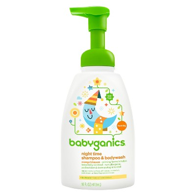 Babyganics Night Time Baby Shampoo + Body Wash, Orange Blossom - 16oz Pump Bottle