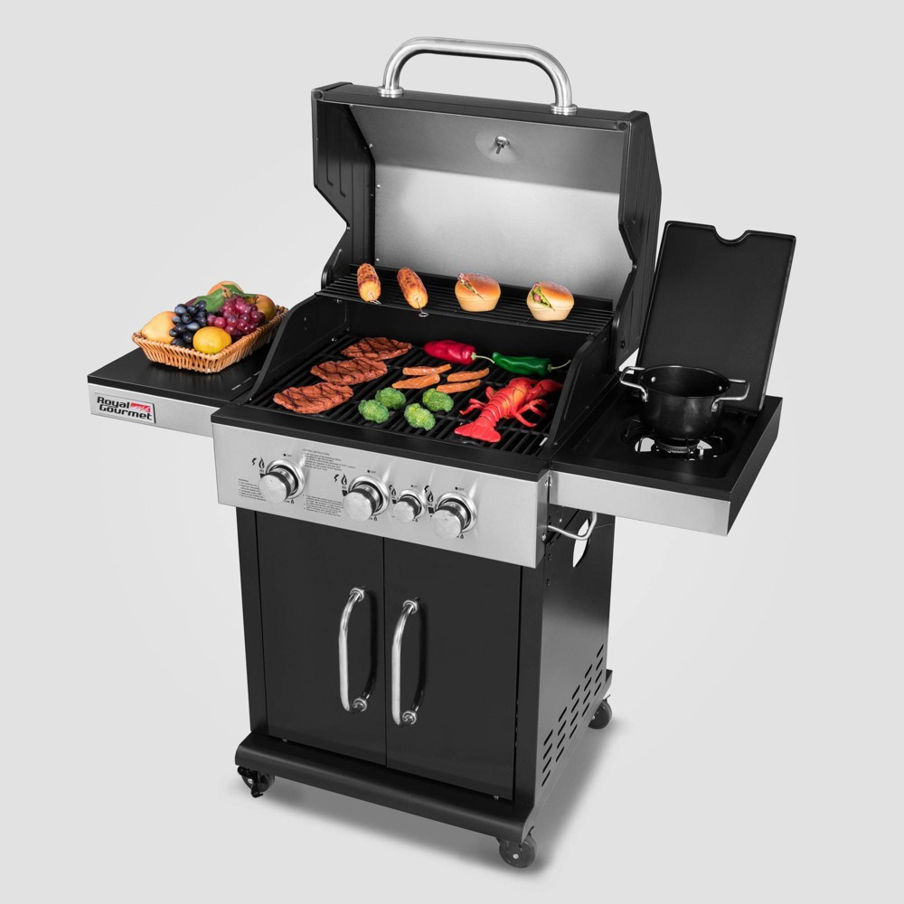 Image of 3 Burner Propane Gas Grill with Side Burner GG3201S - Royal Gourmet, Black