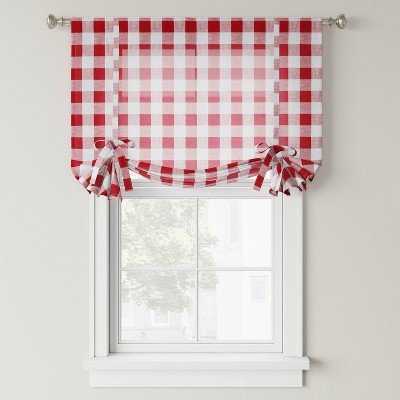 "63""x42"" Balloon Shade Light Filtering Curtain Panel Red - Threshold™"