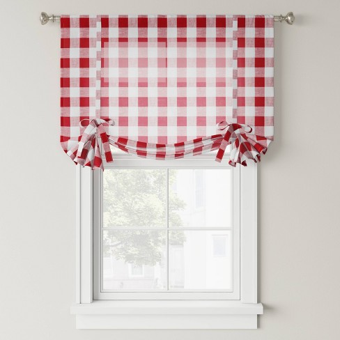 """63""""x42"""" Balloon Shade Light Filtering Curtain Panel Red - Threshold™ - image 1 of 3"""