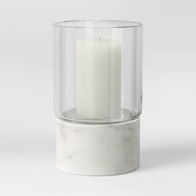 Marble/Glass Taper Candle Holder White - Project 62™