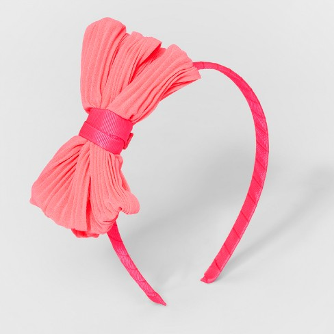 Girls' Pleated Bow Headband - Cat & Jack™ Pink - image 1 of 1