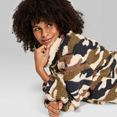 Women's Camo Print Long Sleeve Cowl Neck Sherpa Pullover   Wild Fable™ Olive by Wild Fable