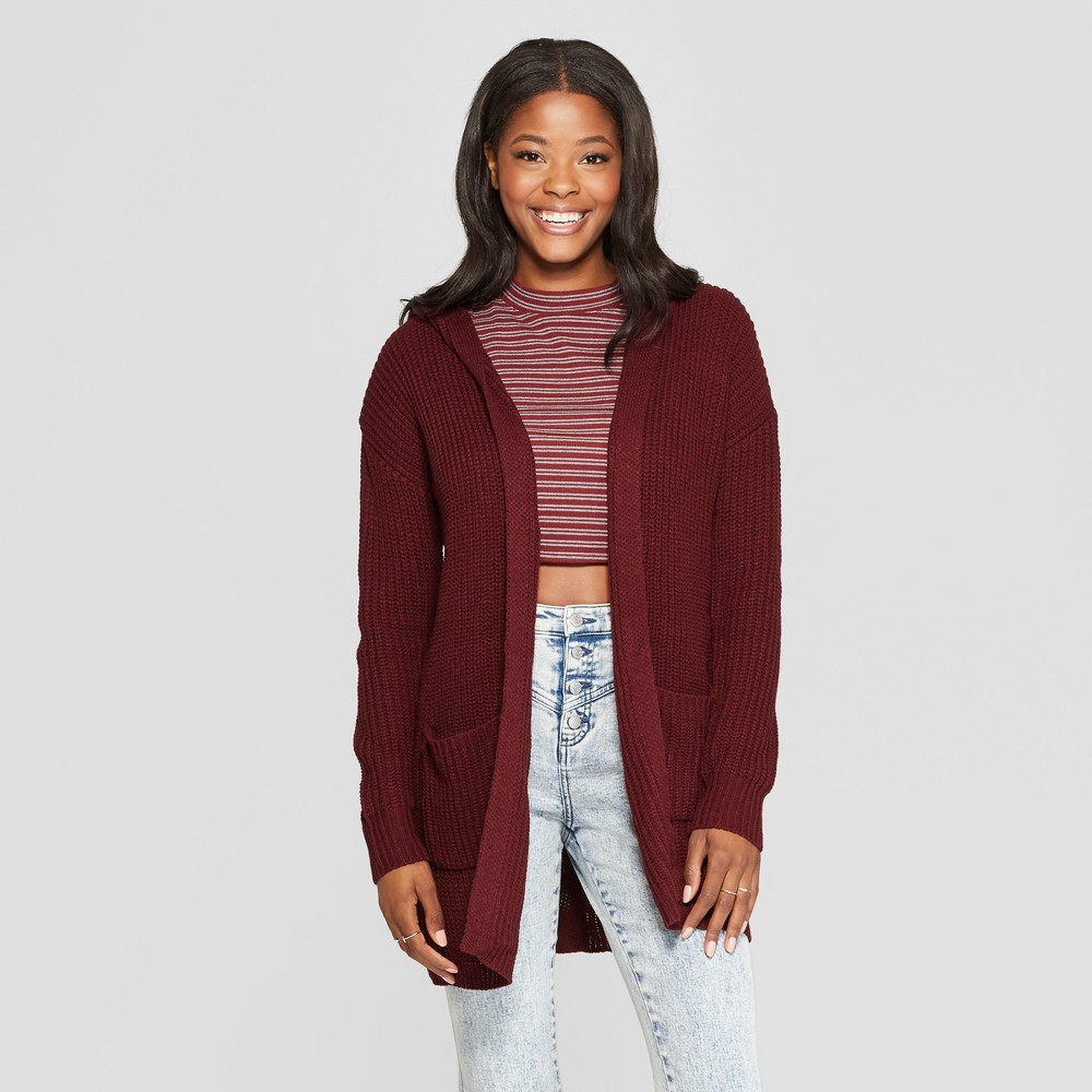 Women's Long Sleeve Lace-Up Back Hooded Cardigan - Almost Famous (Juniors') Burgundy S, Red