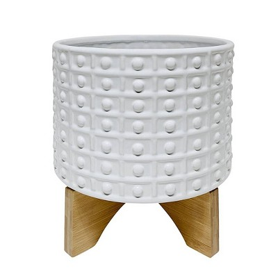 Dotted Planter with Stand White - Sagebrook Home