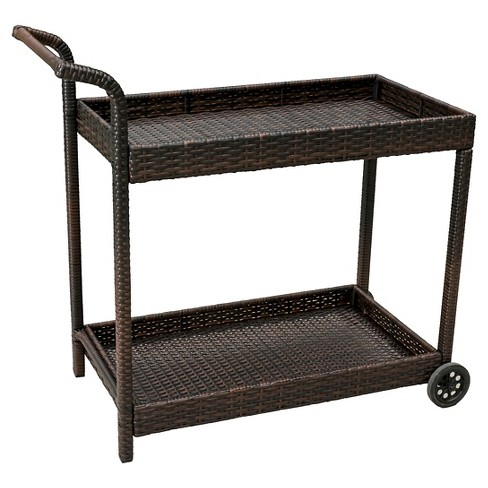 Savona Wicker Outdoor Serving Cart - Brown - Christopher Knight Home - image 1 of 4