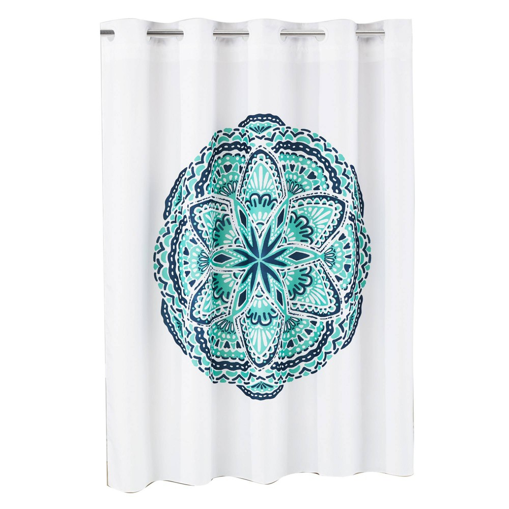 Image of Henna Medallion Shower Curtain with Liner Aqua/White (Blue/White) - Hookless