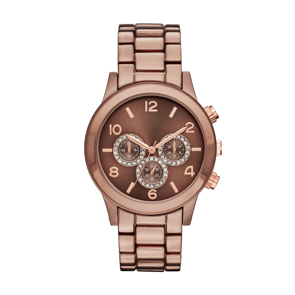 Women's Boyfriend Bracelet Watch with Subdial Glitz - Merona Brown