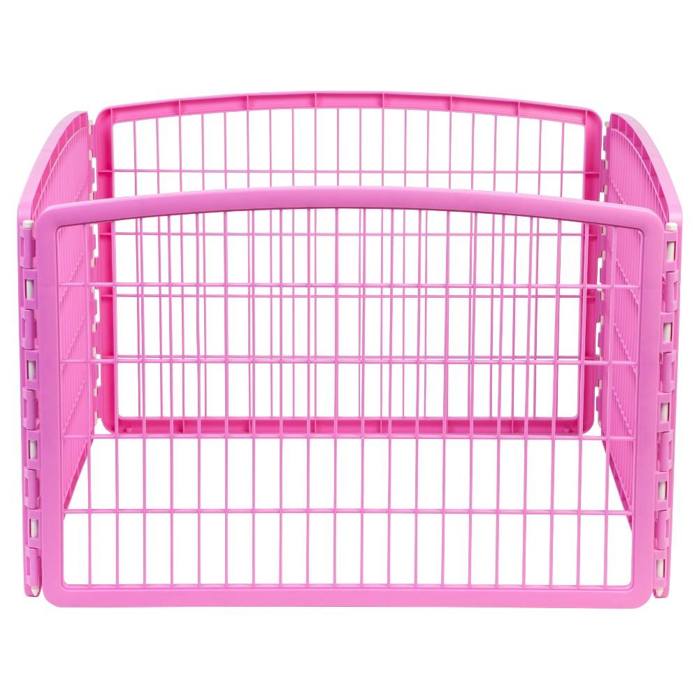 Iris Indoor/Outdoor Plastic Dog Pen - 24in - Pink