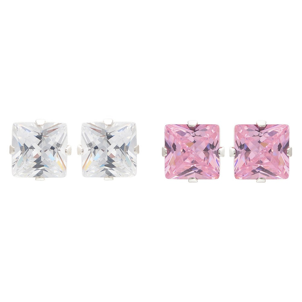 4 1/2 CT. T.W. Square-cut CZ Prong Set Stud Earrings Set in Sterling Silver - Pink/White, Girl's, Light Pink