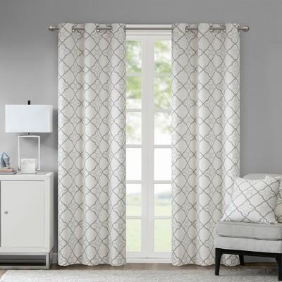 Set of 2 42 x95  Ren Cotton Printed Blackout Window Curtain Gray