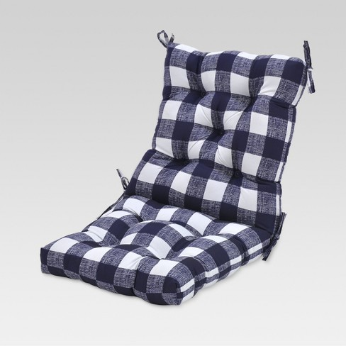 Outdoor Tufted Chair Cushion - Buffalo Plaid Blue - Threshold™ - image 1 of 1