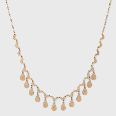 Half Moon and Teardrop Charm Statement Necklace - Universal Thread™ Gold