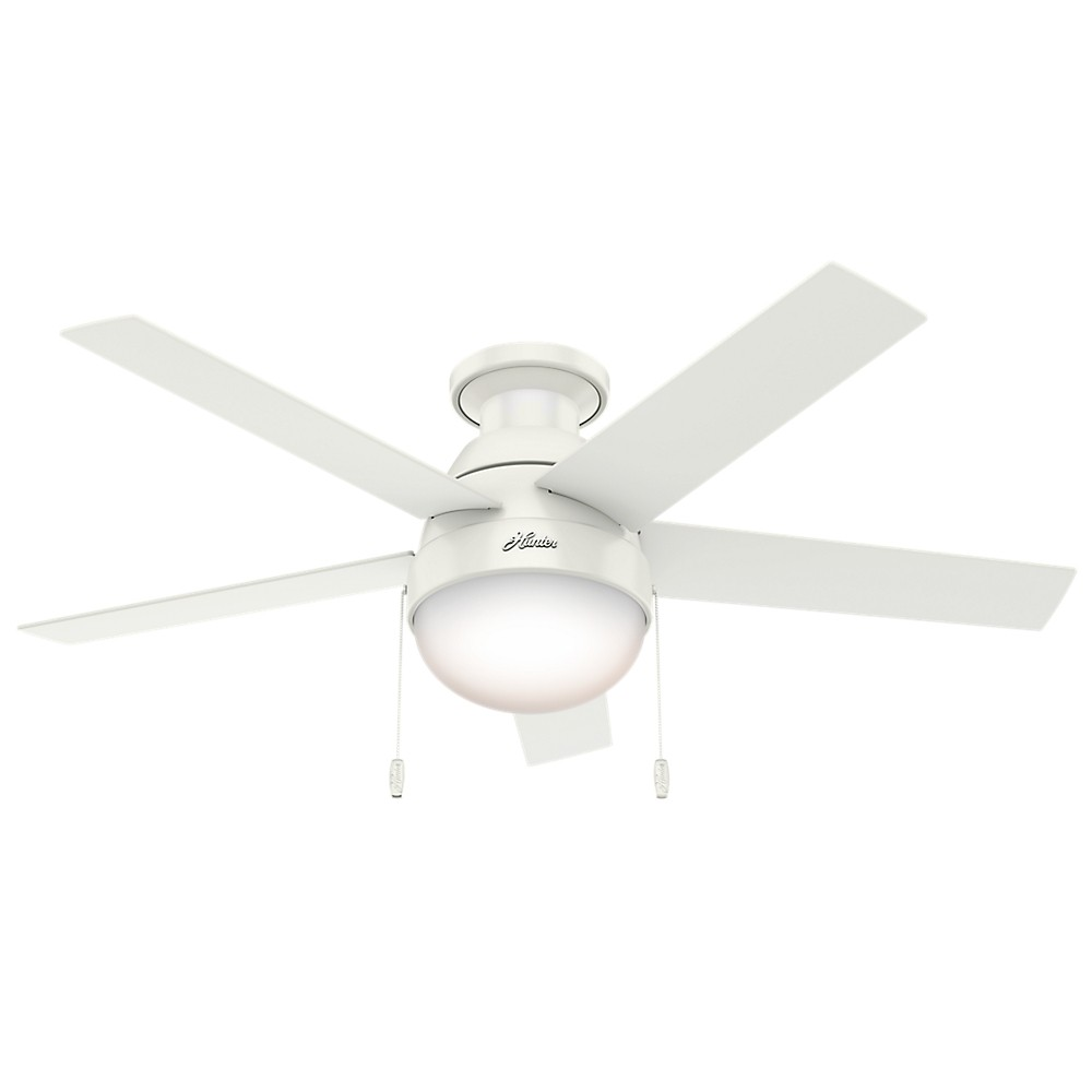 "Image of ""46"""" Anslee Low Profile Fresh White Ceiling Fan with Light - Hunter Fan"""
