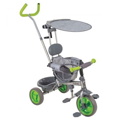 Malmo 4 in 1 Parent Push-Handle Kids Tricycle Stroller for Children, Infants, and Toddlers Ages 1.5 to 3 Years with Removable Canopy & Storage, Green