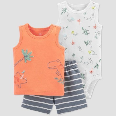 Baby Boys' Dino Top & Bottom Set - Just One You® made by carter's Orange 3M