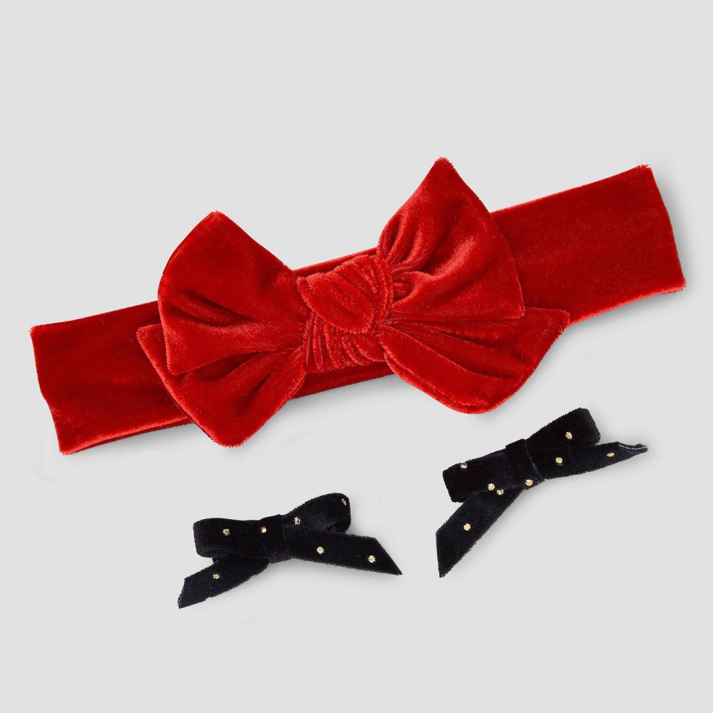 Image of Baby Girls' 3pk Hair Clip Set - Just One You made by carter's Black/Red, Girl's, Red Black