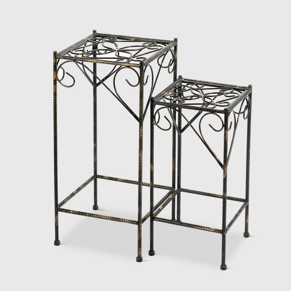 Image of 2pc Square Iron Plant Stands With Ridged Detail Black - Ore International