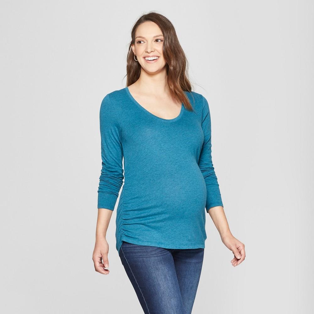 Maternity Long Sleeve Shirred T-Shirt - Isabel Maternity by Ingrid & Isabel Teal Heather XS, Women's