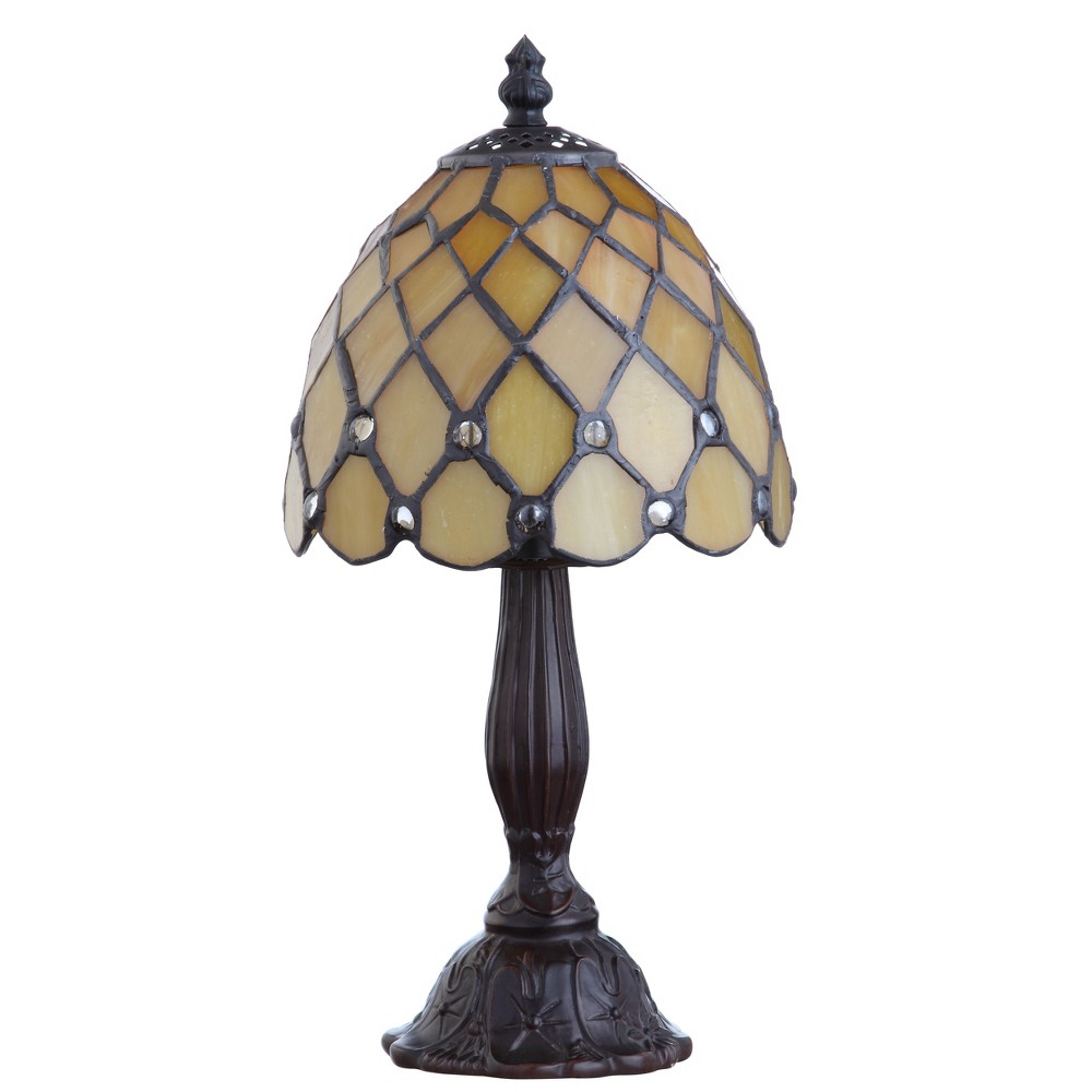 "Image of ""12.5"""" Campbell Tiffany Style LED Table Lamp Bronze (Includes Energy Efficient Light Bulb) - JONATHAN Y"""