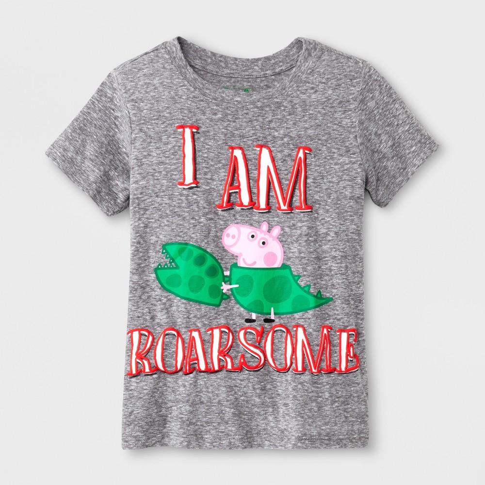 Toddler Boys' Peppa Pig 'I AM Roarsome' Short Sleeve T-Shirt - Gray 2T