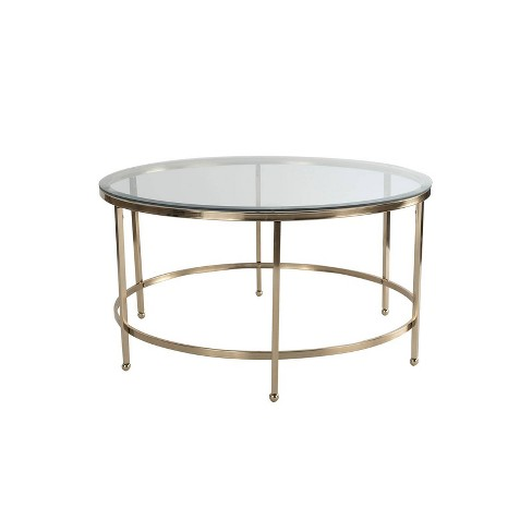 Addison Round Gl Coffee Table Gold Adore Dcor