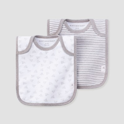 Burt's Bees Baby® Organic Cotton 2pk Lap Shoulder Bib Set - Heather Gray