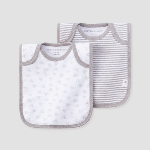 065b9a100 Burt's Bees Baby® Organic Cotton 2pk Lap Shoulder Bib Set - Heather Gray :  Target