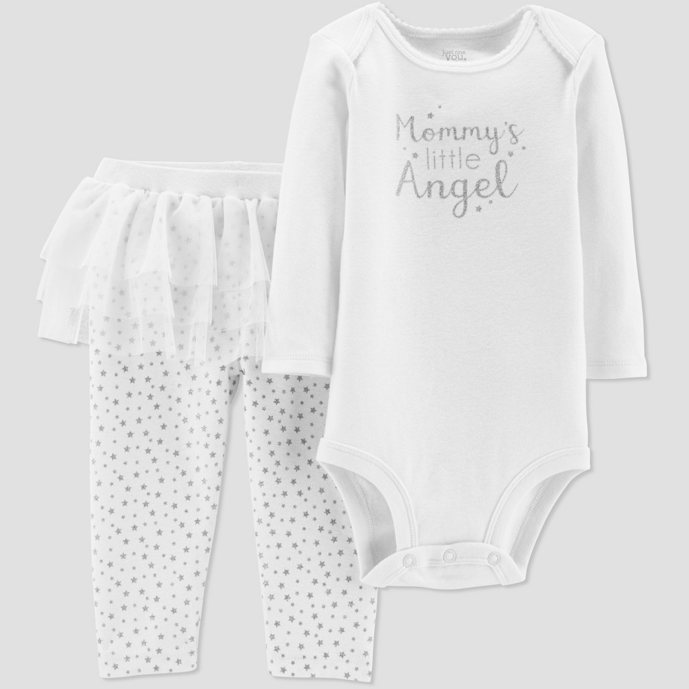 Baby Girls' Mommy's Angel Tutu Set - Just One You made by carter's Ivory 9M, White