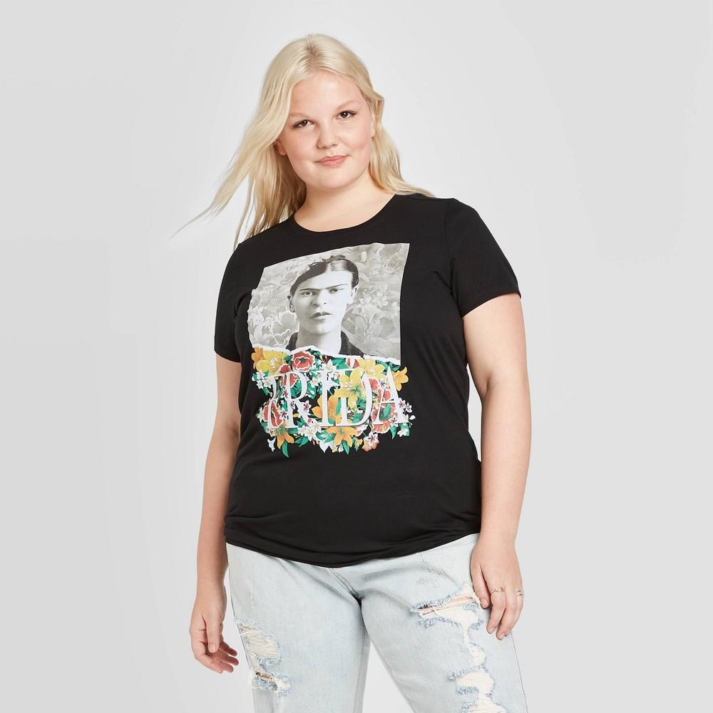 Image of Women's Frida Kahlo Plus Size Short Sleeve Graphic T-Shirt (Juniors') - Black 1X, Women's, Size: 1XL