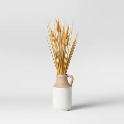 "23"" x 15"" Artificial Wheat Grass in Ceramic Pot Brown - Threshold™"