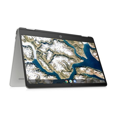 """HP 14"""" Convertible 2-in-1 Chromebook Laptop with Chrome OS - Intel Processor - 4GB RAM - 64GB Flash Storage - Silver (14a-ca0036tg)"""