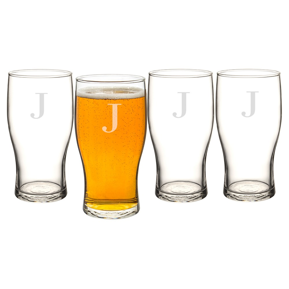 Cathy's Concepts Personalized Craft Beer Pilsner Glass 19oz - Set of 4 - J, Clear