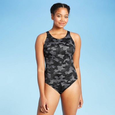 Women's Strappy Back One Piece Swimsuit - All in Motion™ Black Camo Print