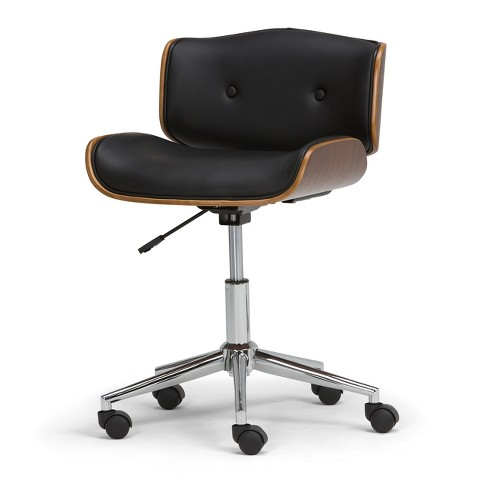 Perry Bentwood Office Chair Black/Natural Faux Leather - Wyndenhall - image 1 of 4