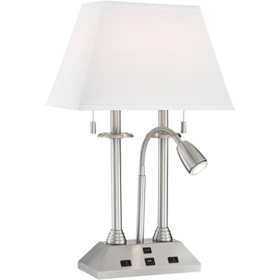 Possini Euro Design Modern Desk Lamp with USB and AC Power Outlet in Base Brushed Nickel LED Reading Light for Bedroom Office