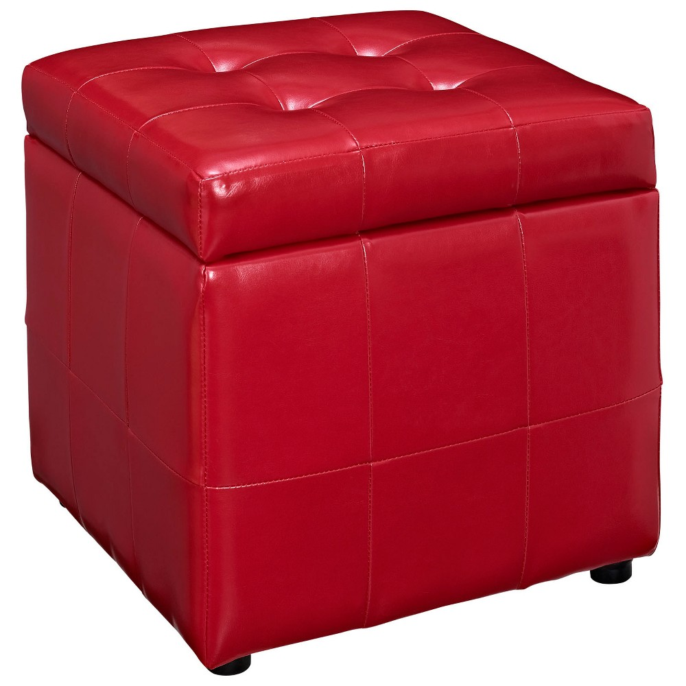 Image of Volt Storage Upholstered Vinyl Ottoman Red - Modway