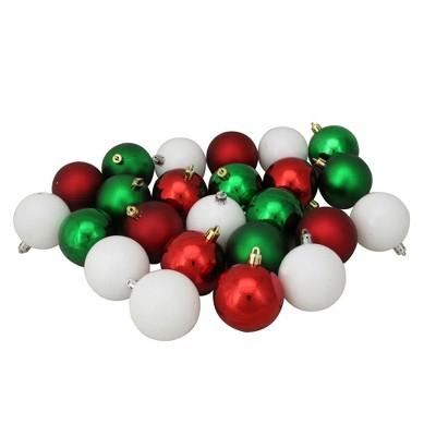 "Northlight 24ct Shatterproof 2-Finish Christmas Ball Ornament Set 2.5"" - Red/Green"