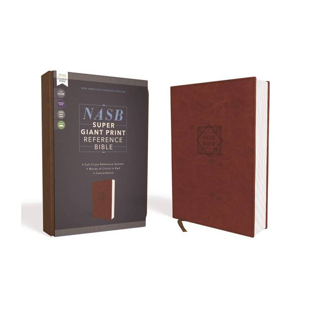 Nasb Super Giant Print Reference Bible Leathersoft Brown Red Letter Edition 1995 Text Comfort Print Large Print By Zondervan Leather Bound