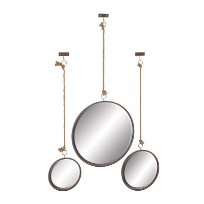 Set of 3 Modern Iron Framed Wall Mirrors with Rope Hangers - Olivia & May
