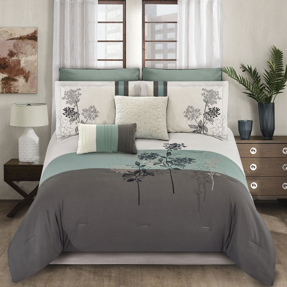 Image of 8pc King Emilie Comforter Set Blue & Gray - Riverbrook Home, White Gray Blue