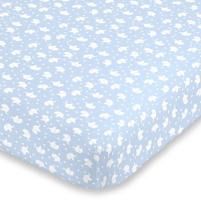 NoJo Super Soft Blue and White Elephant Fitted Mini Crib Sheet