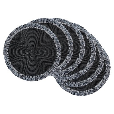 6pk Plastic Fringed Placemats Black - Design Imports