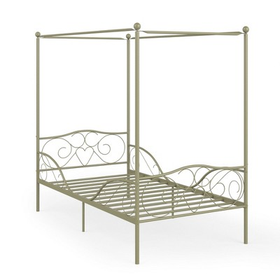 Costway Twin Size Metal Canopy Bed Frame 4 Poster Steel Slats Headboard Footboard Pewter\Gold\ Pink