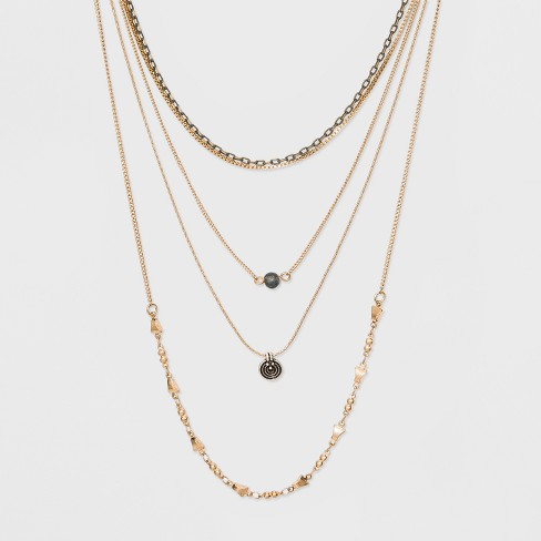 Multi Row Layered Necklace - Universal Thread™ Gold - image 1 of 3